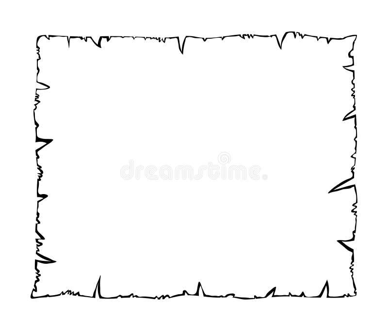 Bränt gammalt papper, ico för symbol för vektor för pergamentöversiktskontur stock illustrationer