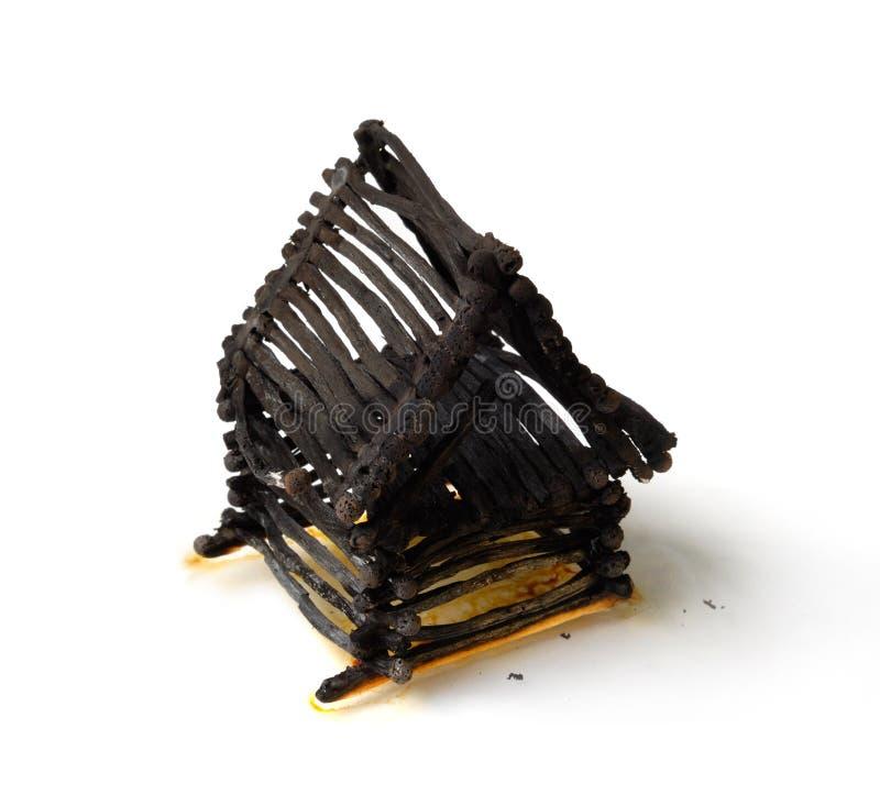 bränt ner husmatches arkivbilder
