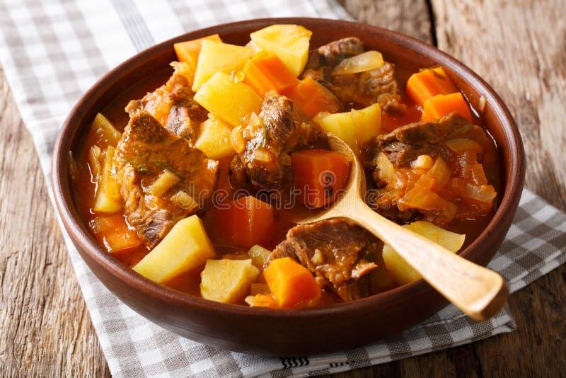 Bräserat nötkött Estofado med grönsaknärbild på tabellen Hor fotografering för bildbyråer