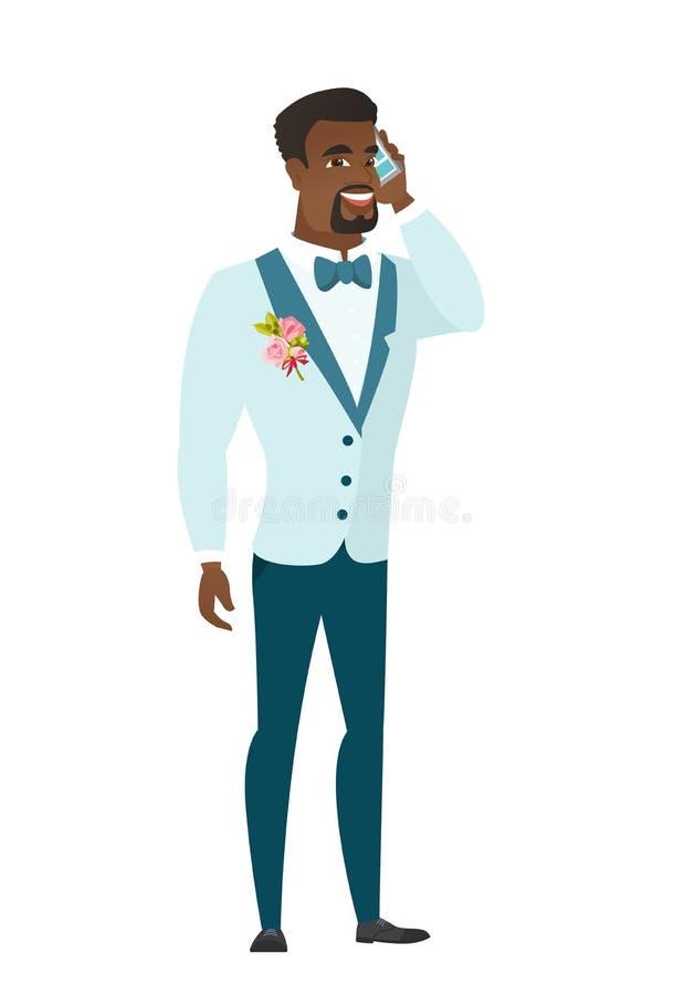Bräutigam, der an einem Handy spricht stock abbildung