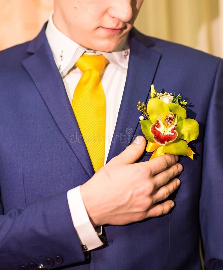 Bräutigam in einer Klage, die Knopfloch hält lizenzfreies stockfoto