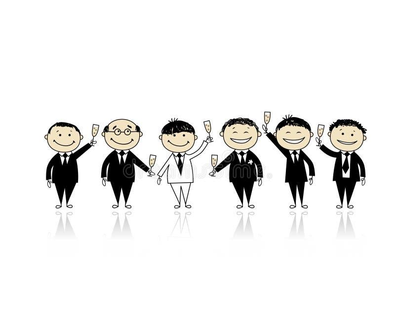 Bräutigam mit Freunden, Hirschparty für Ihre Auslegung vektor abbildung
