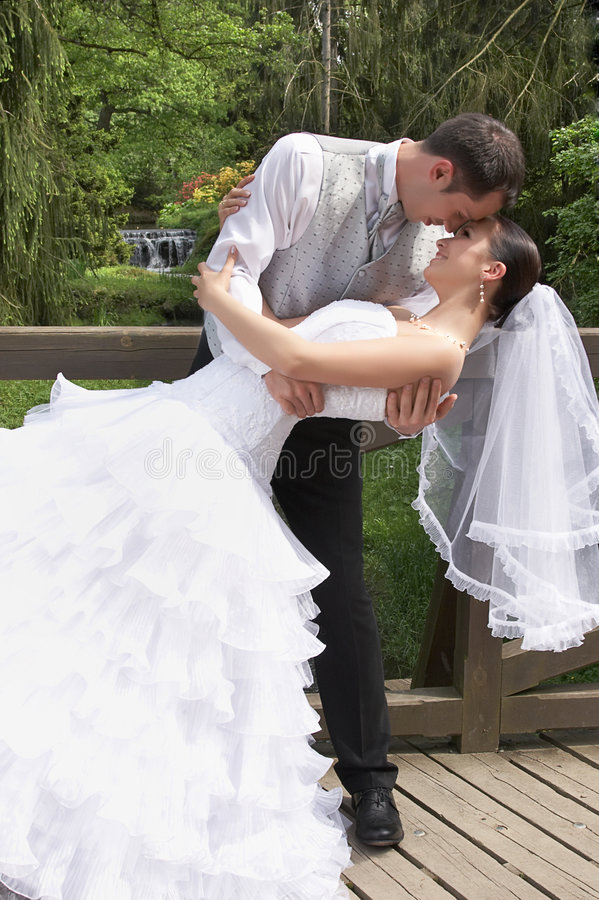 Bräutigam und Braut auf der Hochzeit im Park stockfotografie