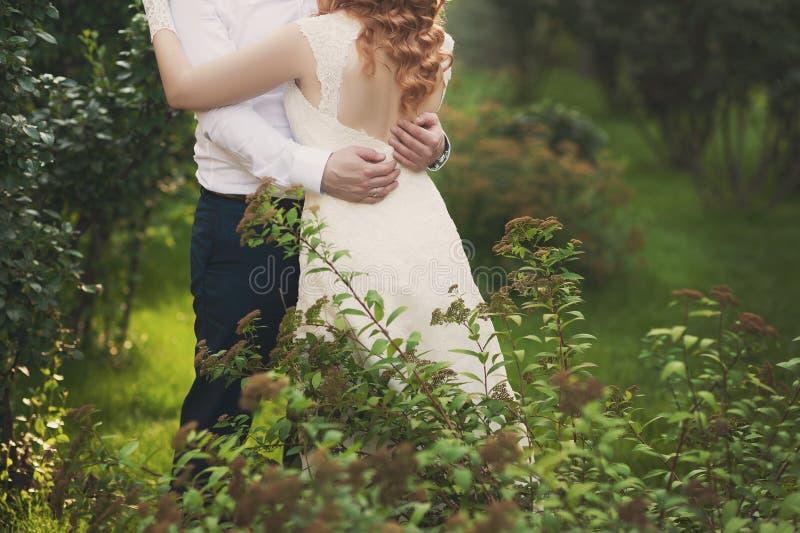 Bräutigam und Braut in einer Schleierstellung und -Händchenhalten stockbilder