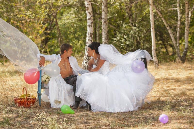 Bräutigam und Braut im Wald auf einem Bett stockbilder