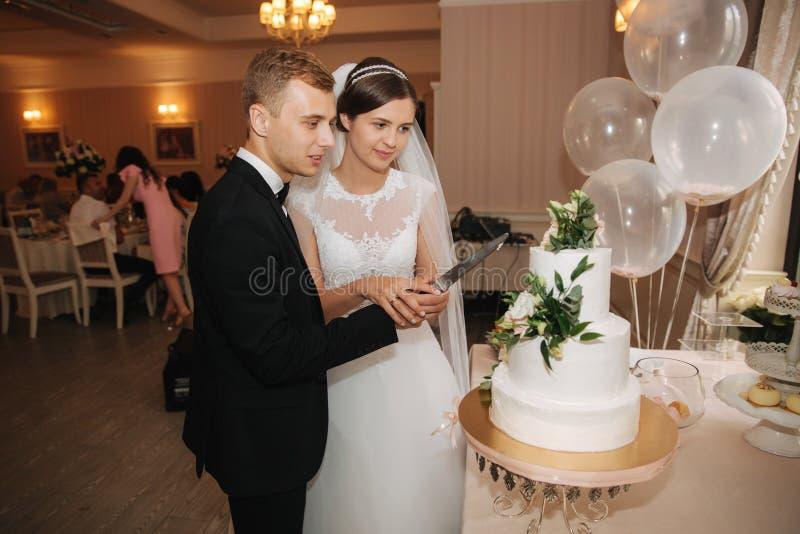 Bräutigam und Braut stehen die Hochzeitstorte bereit Heiratspaare, die den Kuchen an ihrer Hochzeit schneiden lizenzfreie stockbilder