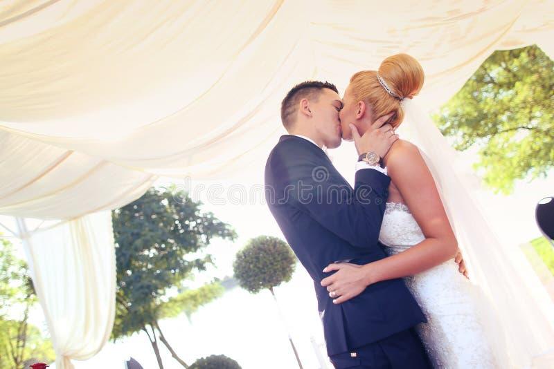 Bräutigam- und Brautküssen stockbild