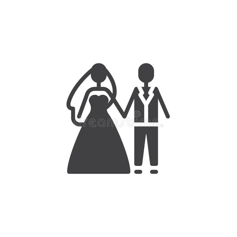 Bräutigam- und Brautvektorikone stock abbildung
