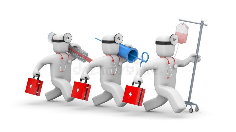 Brådskorna för medicinskt lag som ska hjälpas vektor illustrationer