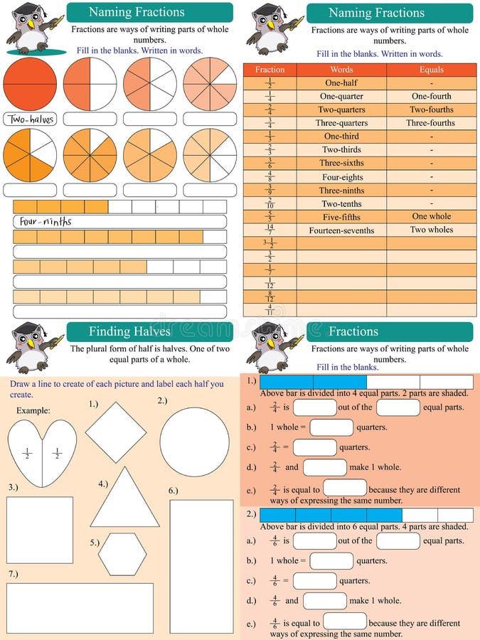 Bråkdelar för matematikuppsättning 1 vektor illustrationer