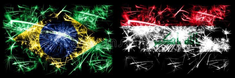 Brésil, Brésil, Brésil contre Irak, célébration du Nouvel An irakien feux d'artifice drapeaux de fond Combinaison de deux États illustration libre de droits