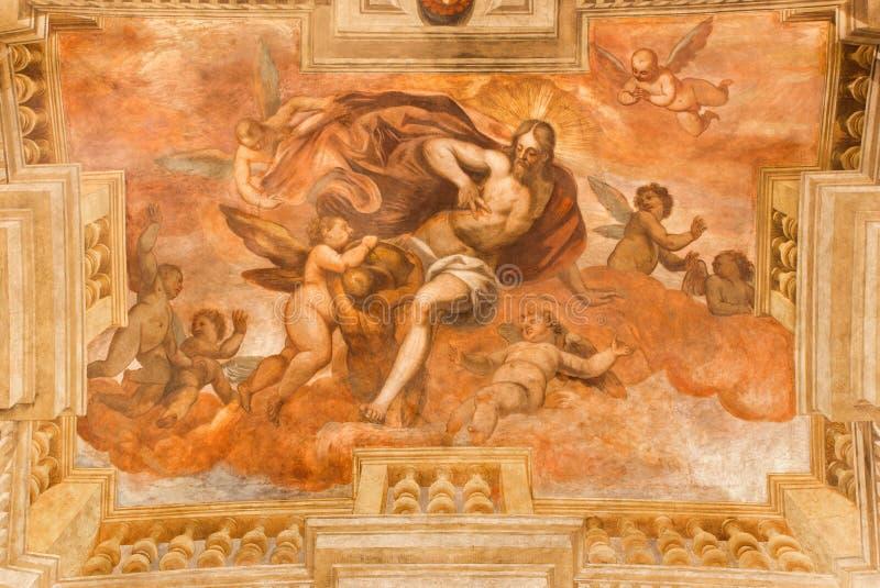 BRÍXIA, ITÁLIA, 2016: O fresco Resurrected Jesus Cristo dá seu sangue na igreja Chiesa di San Faustino e Giovita imagem de stock royalty free