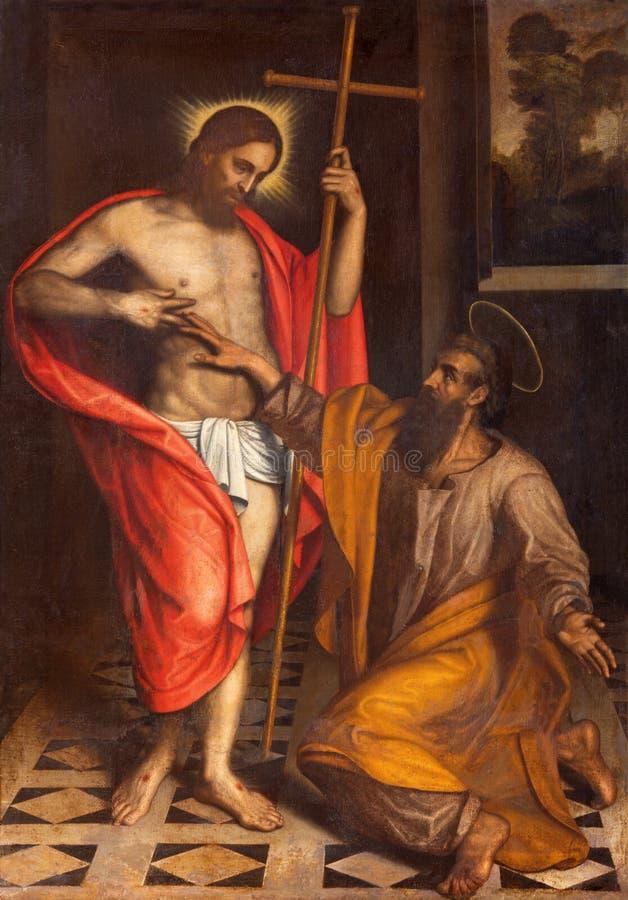 BRÍXIA, ITÁLIA, 2016: A pintura a dúvida de St Thomas na igreja Chiesa di San Faustino e Giovita por artista desconhecido ilustração royalty free