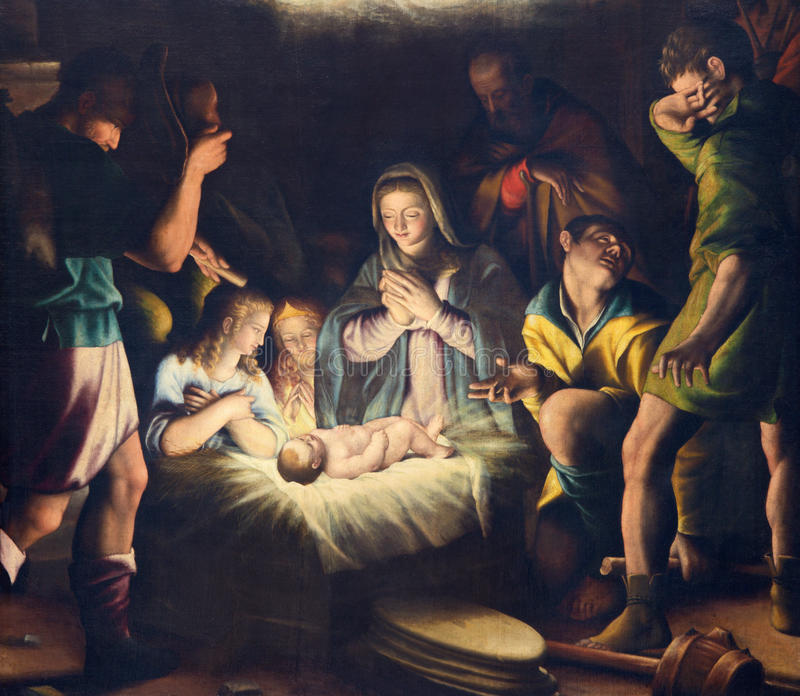 BRÍXIA, ITÁLIA, 2016: A pintura da natividade em di Cristo de Chiesa del Santissimo Corpo da igreja por Pier Maria Bagnadore fotos de stock royalty free