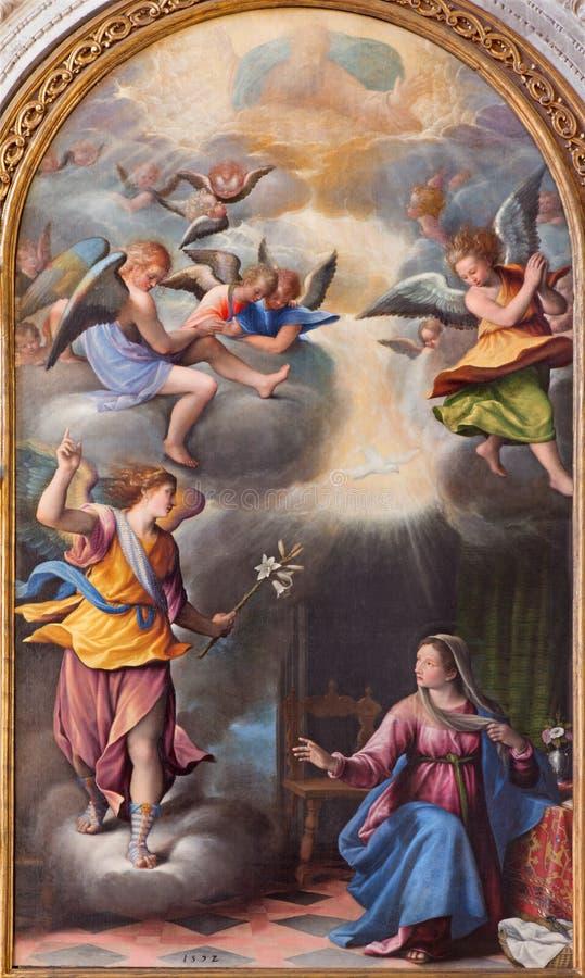 BRÍXIA, ITÁLIA, 2016: A pintura do aviso no dei Miracoli de Santa Maria dos di de Chiesa da igreja por Pietro Maria Bagnatore fotografia de stock royalty free