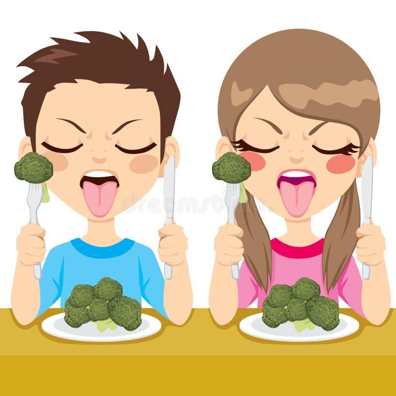 Bróculi asqueado de la consumición de los niños stock de ilustración
