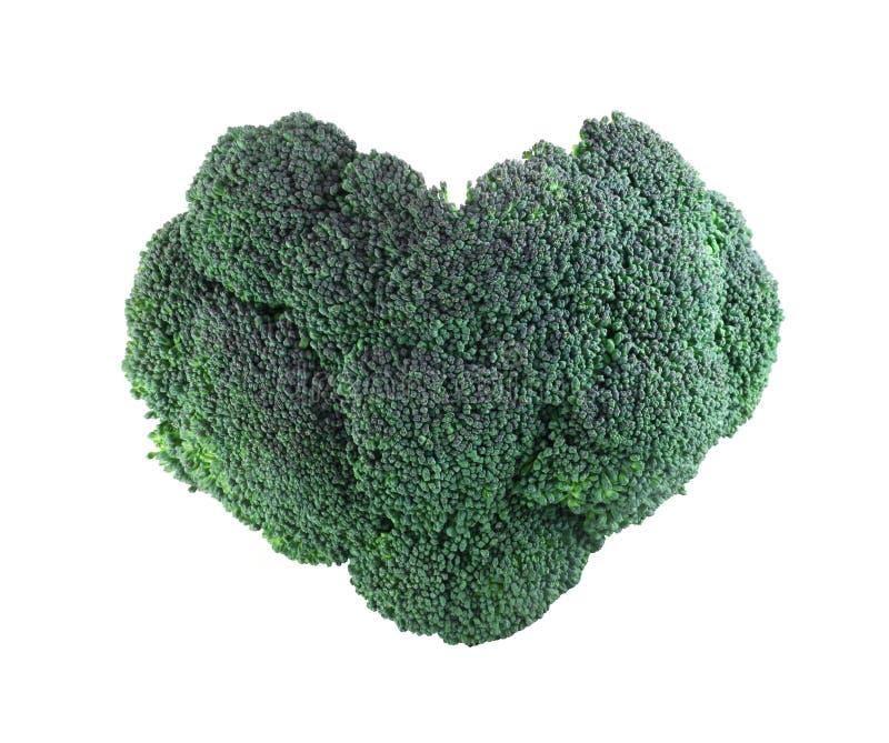 Bróculi en forma de corazón en blanco imágenes de archivo libres de regalías