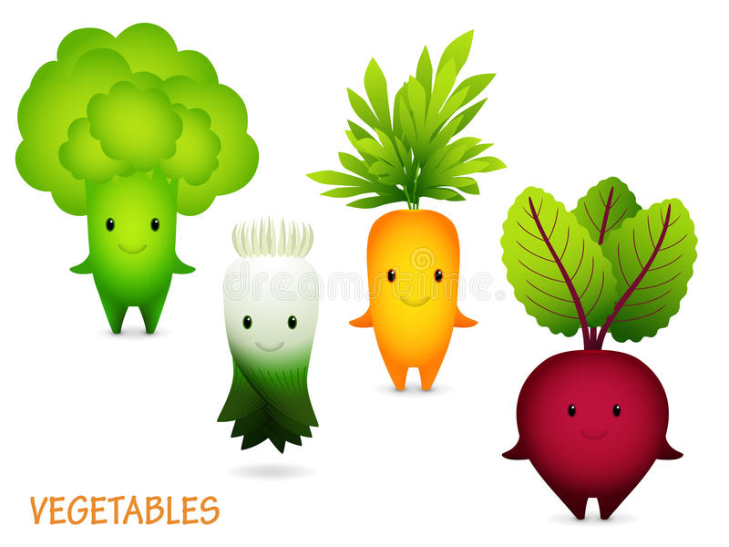 Bróculi, puerro, zanahoria, remolacha Personajes de dibujos animados libre illustration
