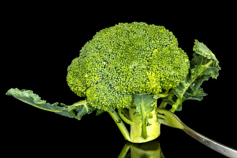 Bróculi que coloca en él el extremo foto de archivo