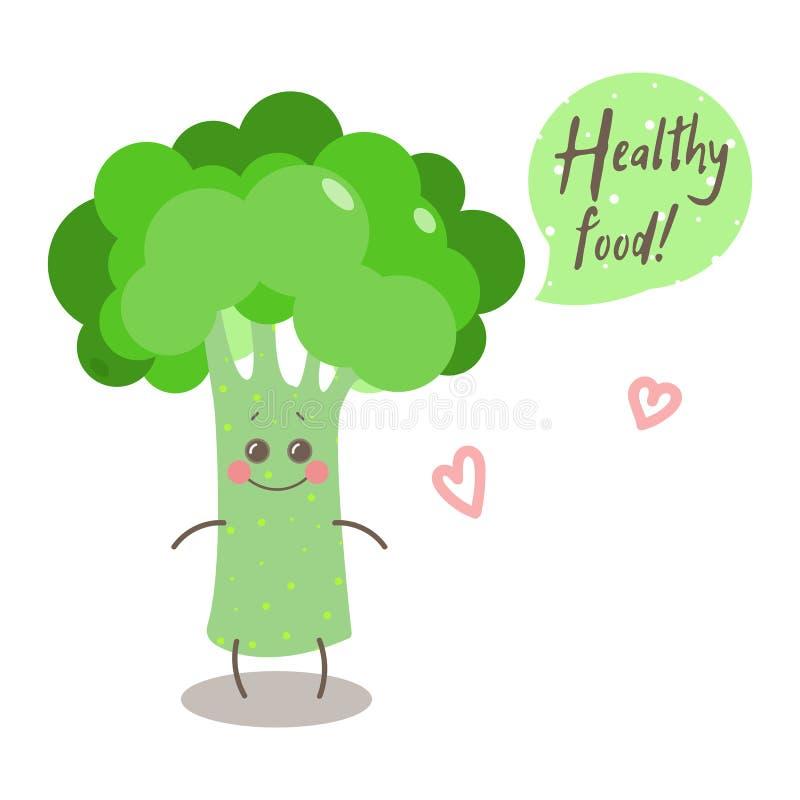Bróculi sonriente feliz lindo con el ` sano de la comida del ` de las palabras ilustración del vector