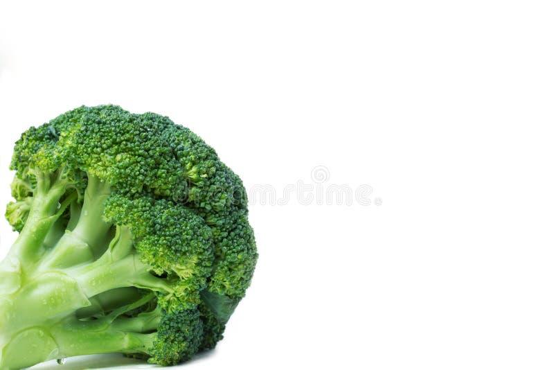 Bróculi verde en el fondo blanco del aislante En la esquina de parte inferior izquierda Verduras, copyspace fotografía de archivo libre de regalías