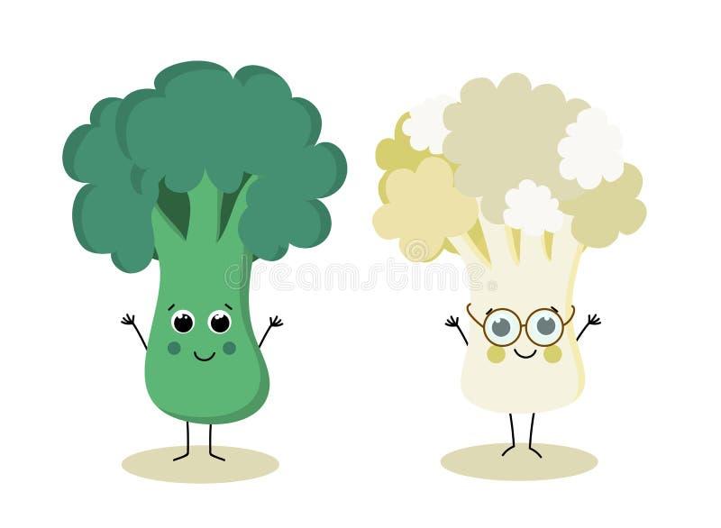 Bróculi y coliflor de la historieta stock de ilustración