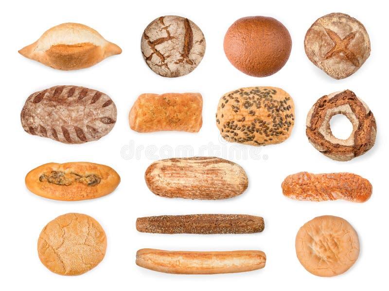 Bröd, bagetter och kakasamling som isoleras med den snabba banan arkivfoton