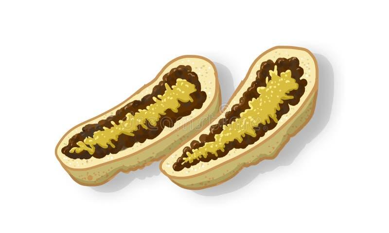 Bröd med bönor och ost royaltyfri illustrationer