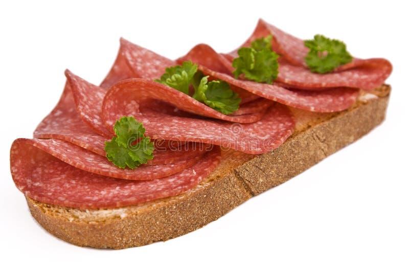 Bröd med salami royaltyfria foton