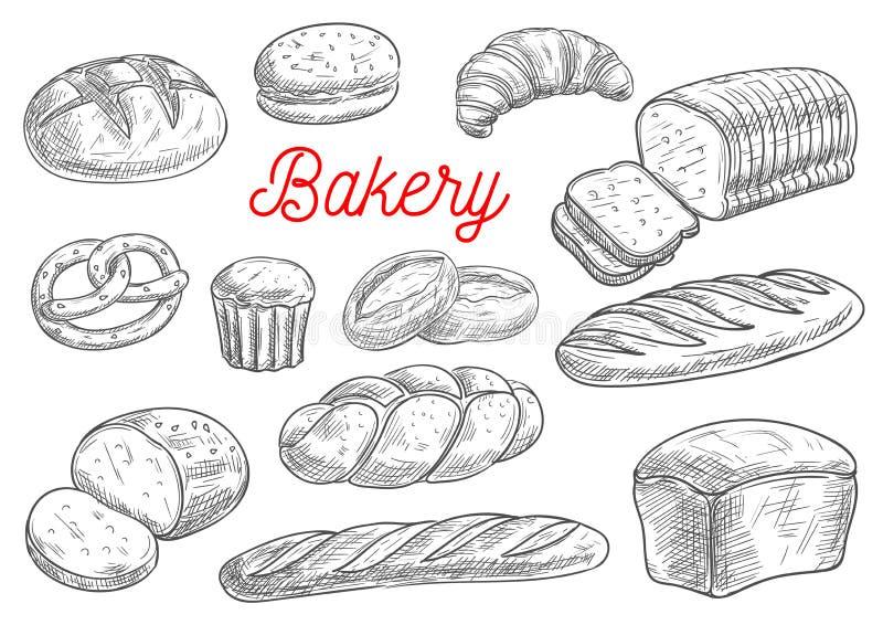 Bröd- och bageriproduktvektorn skissar royaltyfri illustrationer