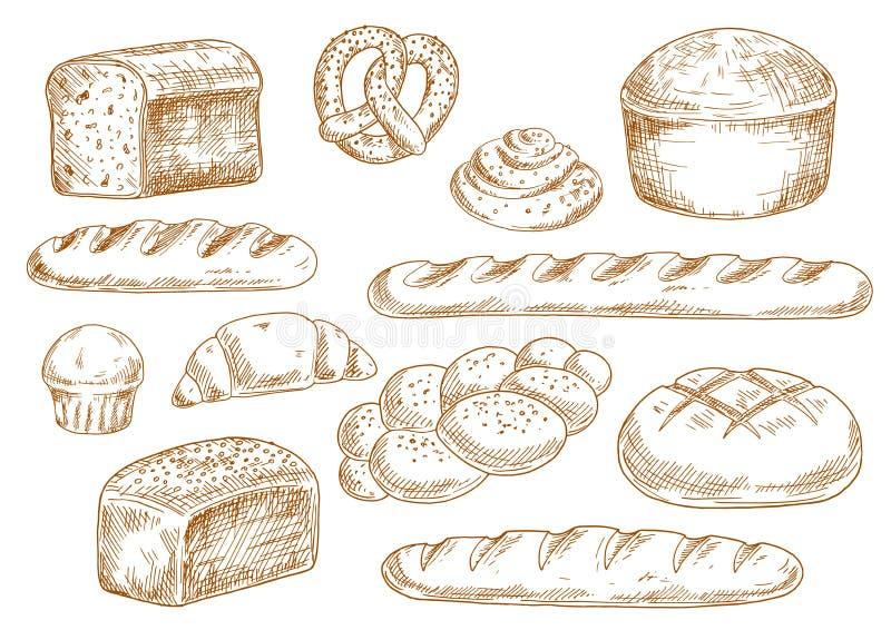 Bröd och bagerit skissar symboler vektor illustrationer