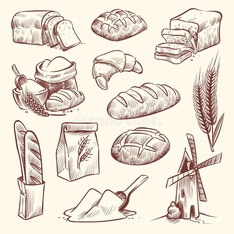 Bröd skissar Mjöl maler bagettfransman bakar uppsättningen för skivan för rostat bröd för bakelse för korn för korgen för bagerit royaltyfri illustrationer