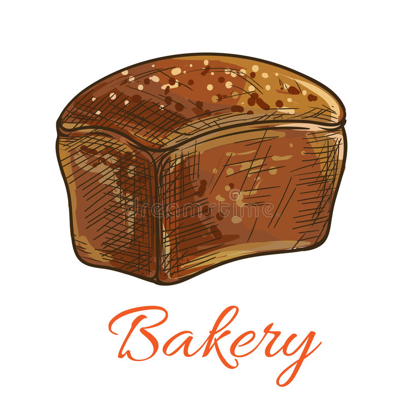 Bröd släntrar skissar symbolen för bageri shoppar stock illustrationer