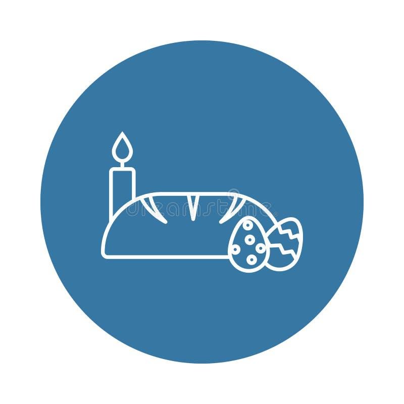 bröd-, stearinljus- och för easter ägg symbol Beståndsdel av easter symboler för mobila begrepps- och rengöringsdukapps Emblemsti stock illustrationer