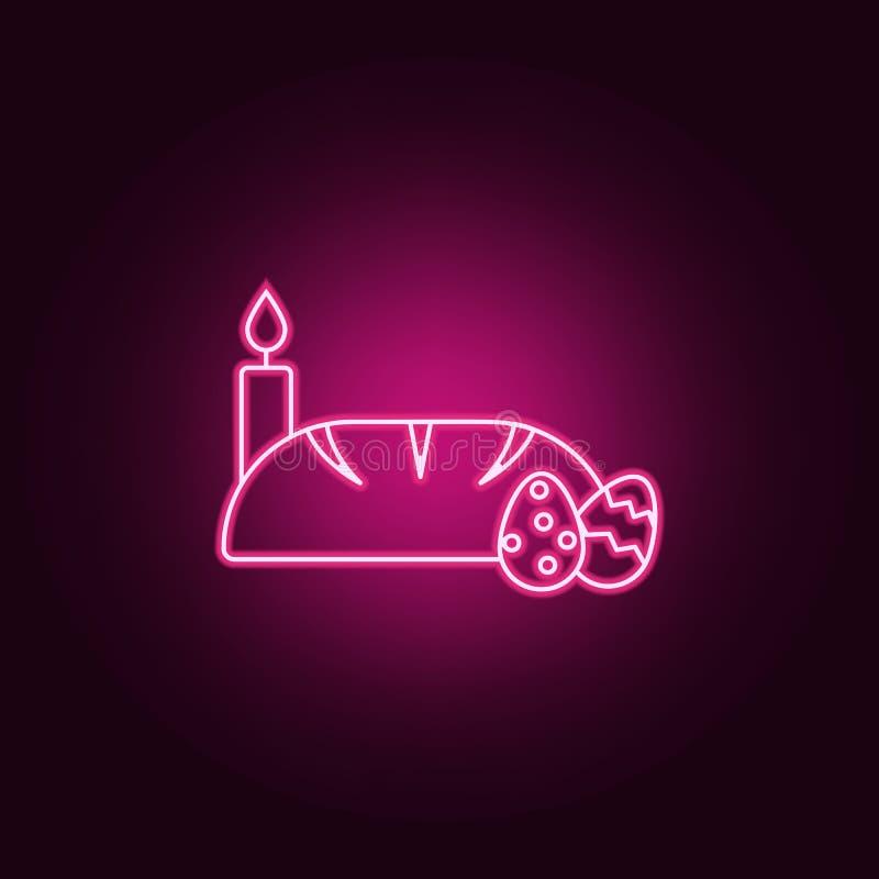 bröd-, stearinljus- och för easter ägg symbol Beståndsdelar av påsken i neonstilsymboler Enkel symbol för websites, rengöringsduk vektor illustrationer