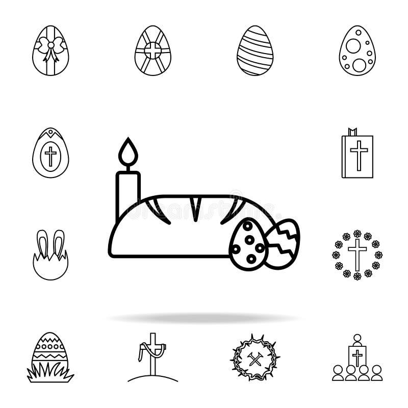 bröd-, stearinljus- och för easter ägg symbol Universell uppsättning för påsksymboler för rengöringsduk och mobil stock illustrationer