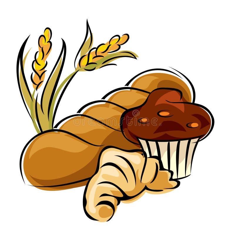 brödbakelse royaltyfri illustrationer