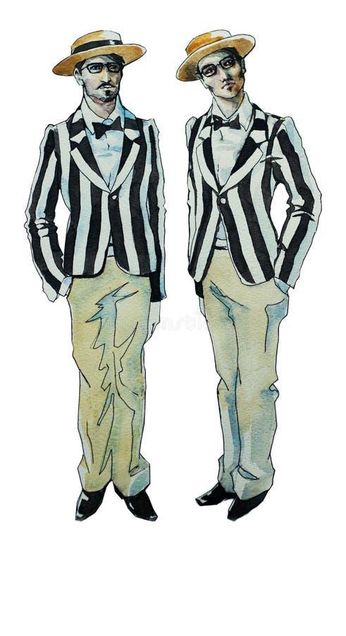 Bröder för retro illustration för vattenfärg tvilling- stock illustrationer