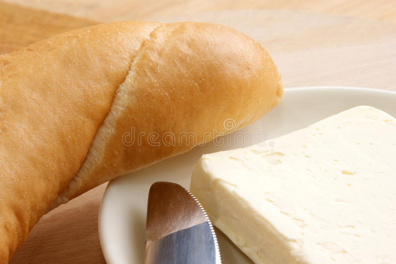 brödfrukostrulle royaltyfria foton