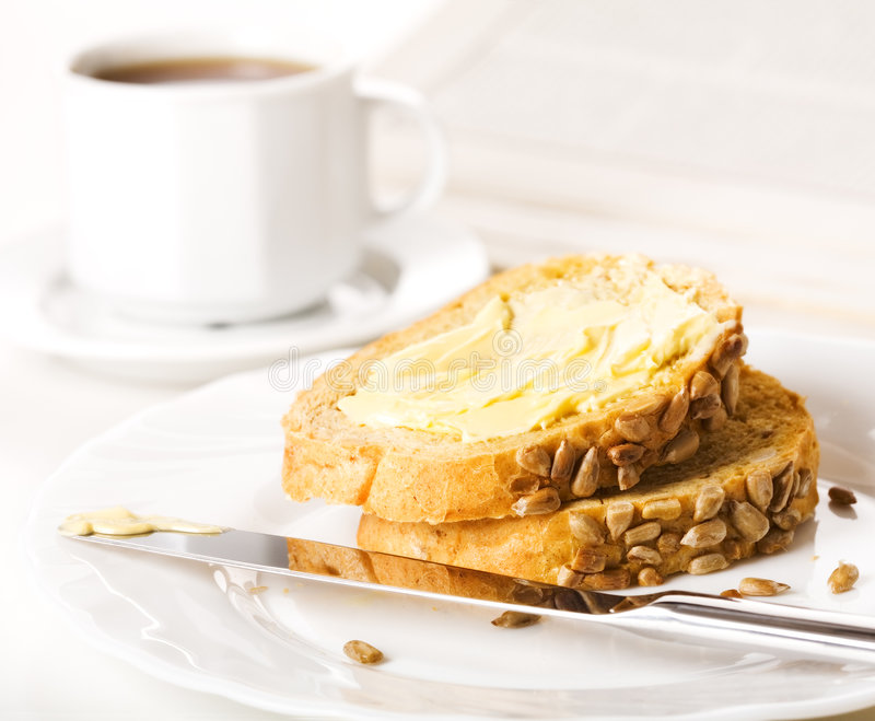 brödkaffeskivor royaltyfria foton