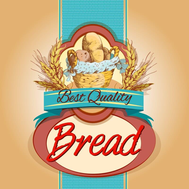Brödpackeetikett royaltyfri illustrationer