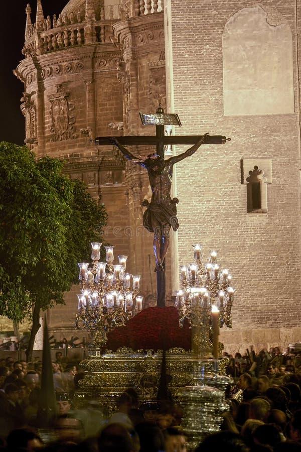 Brödraskap av förälskelse för Kristus` s, helig vecka i Seville arkivbilder