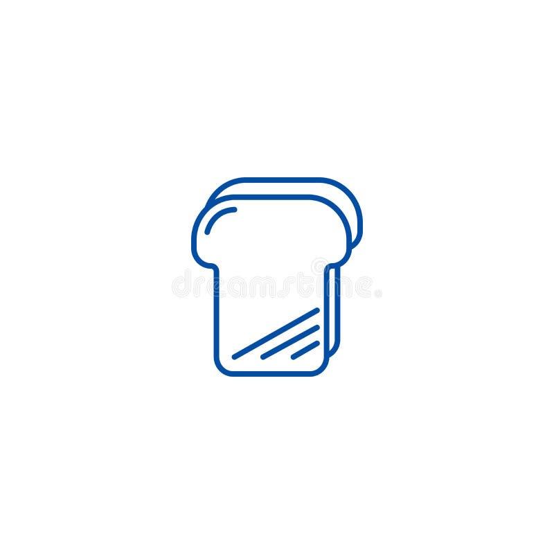 Brödrostat brödlinje symbolsbegrepp Symbol för vektor för brödrostat bröd plant, tecken, översiktsillustration royaltyfri illustrationer