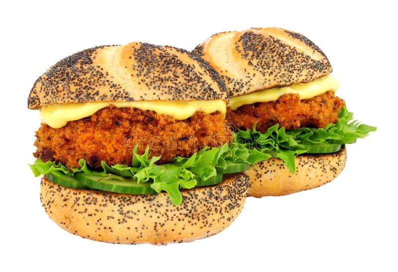 Brödsmulan täckte rullar för smörgåsen för laxfiskkakan royaltyfri bild
