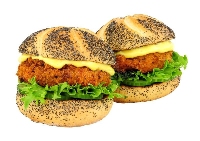 Brödsmulan täckte rullar för smörgåsen för laxfiskkakan arkivbild