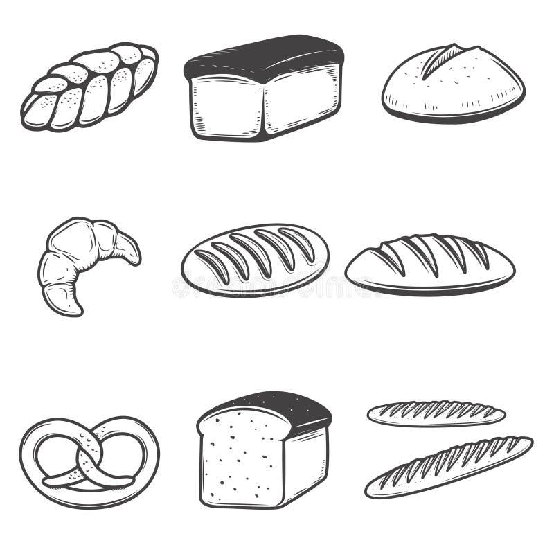Brödsymbolsillustrationer som isoleras på vit bakgrund Design E royaltyfri illustrationer