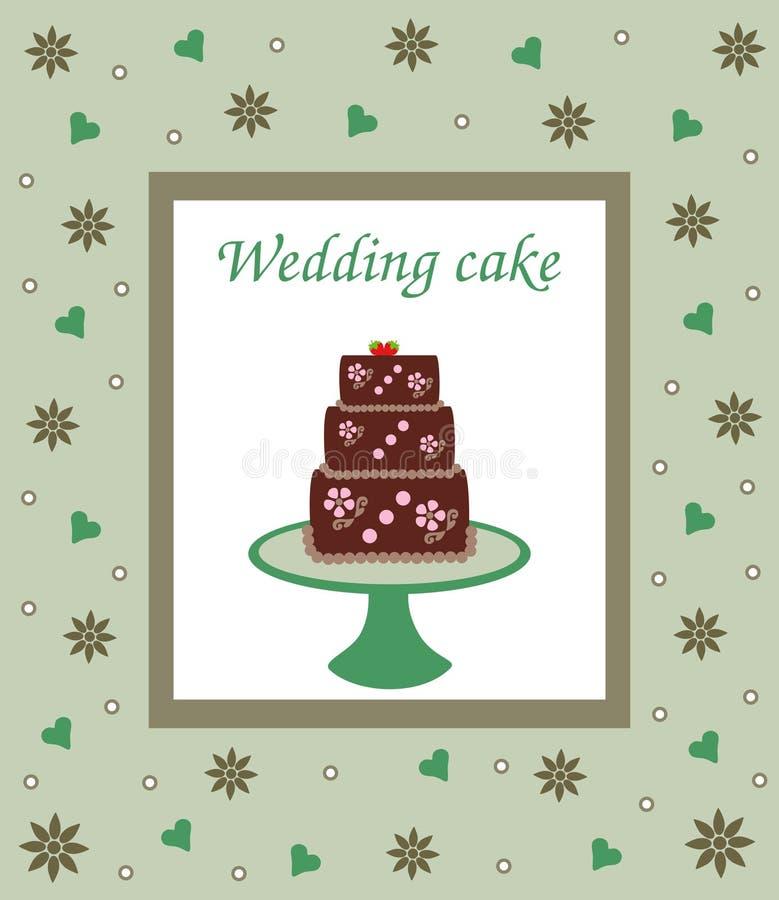 Bröllop- eller för födelsedagkaka kort vektor illustrationer