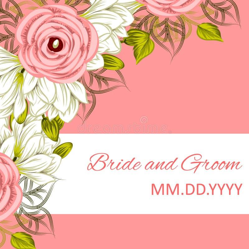 bröllop för abstraktionkortillustration royaltyfri illustrationer