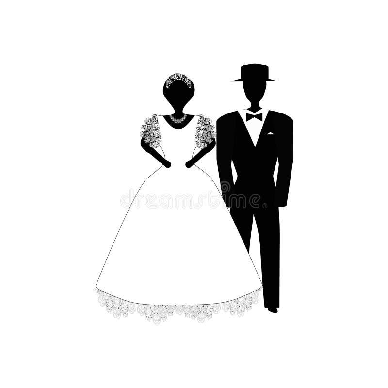 bröllop för brudgum för brudceremonikyrka Svart vit kontur Vektorillustration på isolerad bakgrund stock illustrationer