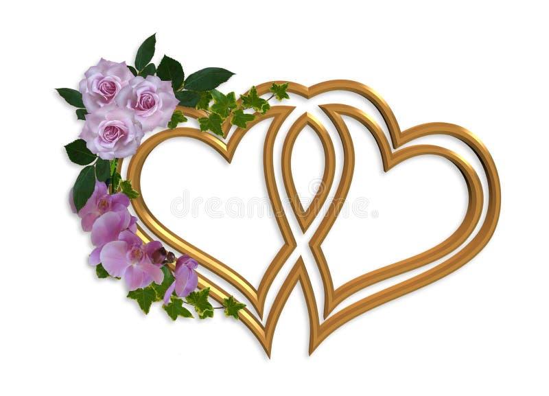 bröllop för guldhjärtainbjudan stock illustrationer